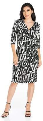 24/7 Comfort Apparel 24seven Comfort Apparel Go Confidently Knee Length Faux Wrap Dress