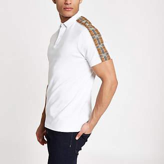 River Island Mens White check tape polo shirt