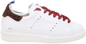 Golden Goose Sneakers Starter Sneakers In Smooth Leather With Animalier Heel And Lurex Laces