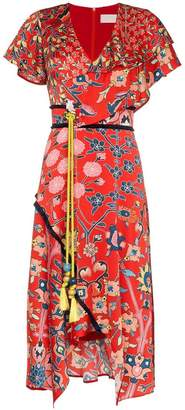 Peter Pilotto Asymmetric Printed Silk Dress