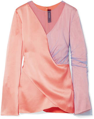 Sies Marjan - Bari Draped Satin And Tulle Blouse - Peach