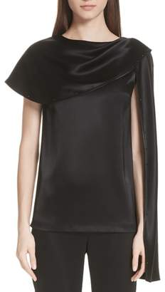 St. John Attached Scarf Liquid Satin Top