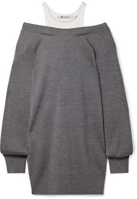 Alexander Wang Off-the-shoulder Layered Ribbed Merino Wool-blend And Cotton Mini Dress - Dark gray