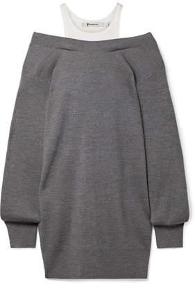 Alexander Wang Off-the-shoulder Layered Ribbed Merino Wool-blend And Cotton Mini Dress - Dark gray