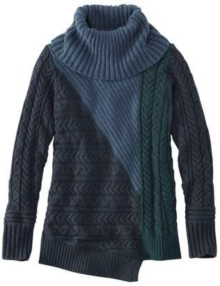 L.L. Bean L.L.Bean Women's Fisherman's Mixed-Stitch Sweater, Cowlneck