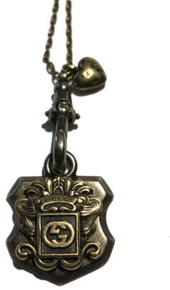 Gucci Sterling Silver Gold Finished Crest Pendant Necklace
