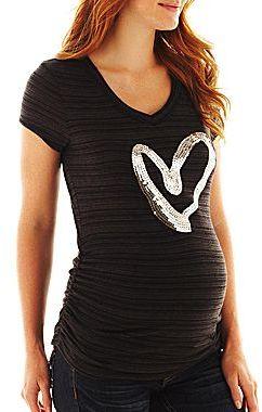 JCPenney Maternity Sequin Heart Slub Tee