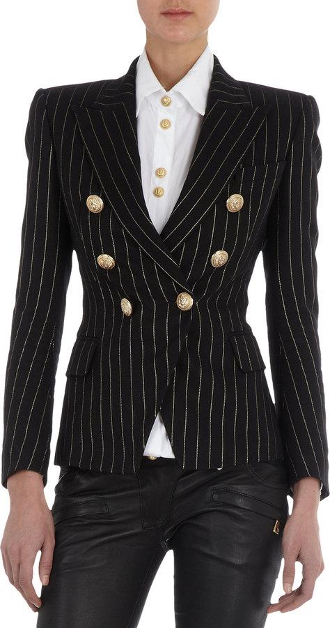 Balmain Pinstriped Double-Breasted Jacket