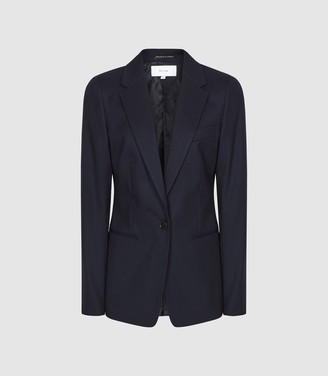 Reiss Hartley Jacket - Textured Single Breasted Blazer in Navy
