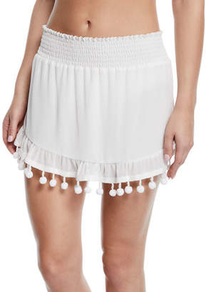 Ramy Brook Stevie Mini Skirt with Pom-Pom Trim