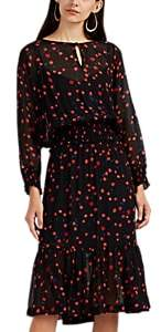 Warm Women's Gather Floral Organza Long Dress - Black