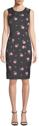 Milly Kendrea Sleeveless Floral-Print Sheath Dress