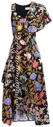 Peter Pilotto Floral Printed Asymmetric Cloque Midi Dress - Womens - Black Multi