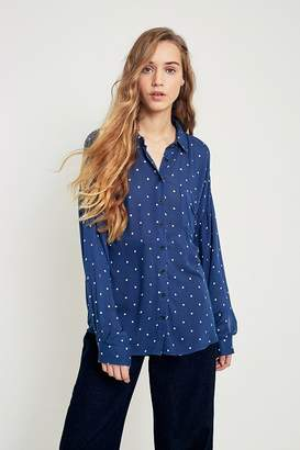 Pins & Needles Polka Dot Button-Down Top