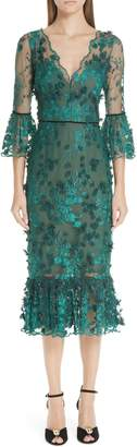 Marchesa Embroidered Ruffle Trim Sheath Dress