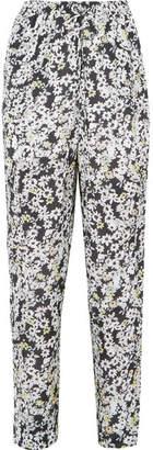 See by Chloe Floral-print Crepe De Chine Straight-leg Pants - Navy