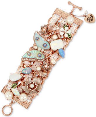 Betsey Johnson Rose Gold-Tone Crystal, Imitation Pearl & Lace Flex Bracelet
