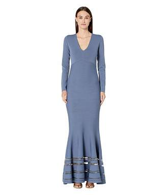 Zac Posen Long Sleeve Deep V Dress