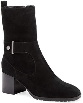 Aquatalia Collette Suede Block-Heel Booties with Strap Detail