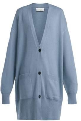 Raey Long Line Cashmere Grandad Cardigan - Womens - Blue