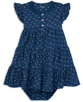 Ralph Lauren Girls' Floral Flutter-Sleeve Tiered Dress with Bloomers - Baby