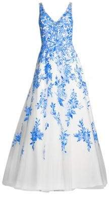 Floral Chiffon Floor-Length Gown