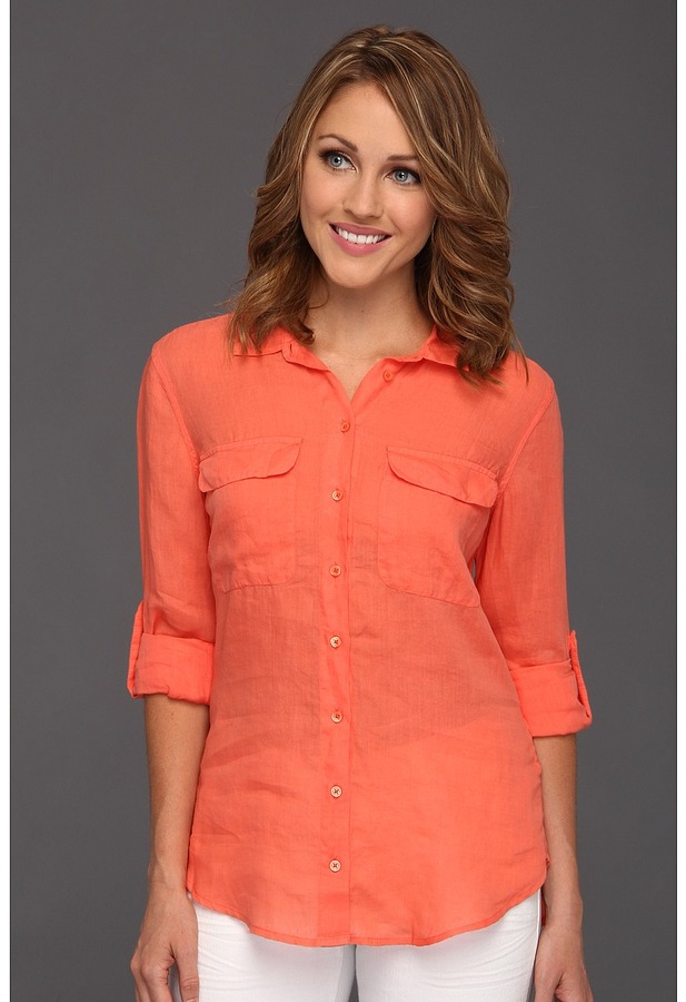 Calvin Klein Jeans Casual Buttonfront Top (Natural Coral) - Apparel