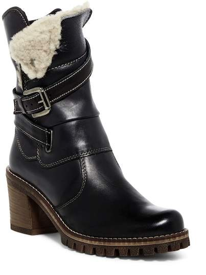 Manas Faux Shearling Mid Leather Boot