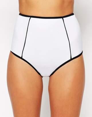 Asos DESIGN Mix and Match Contrast High Waist Bikini Bottom
