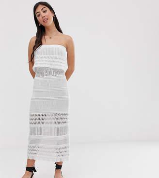 Asos DESIGN Petite crochet bandeau maxi dress