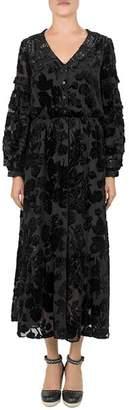 The Kooples Black Magic Flocked Velvet Dress