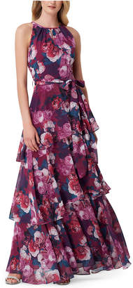 Tahari ASL Tiered Printed Maxi Dress