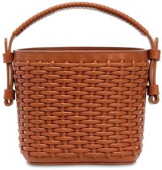 Mini Adenia Woven Leather Bucket Bag