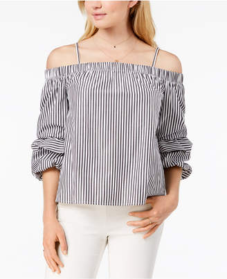 BCX Juniors' Cold-Shoulder Puffed-Sleeve Top