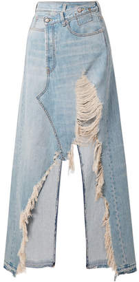 R 13 Harrow Distressed Denim Maxi Skirt - Light blue