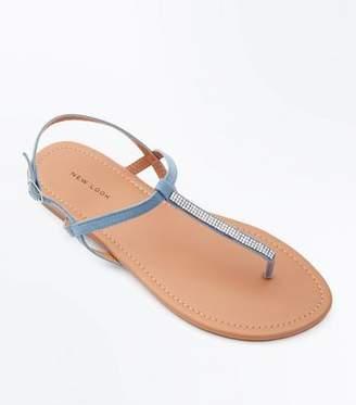 New Look Pale Blue Diamanté Strap Flat Sandals