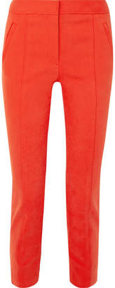 Tory Burch Vanner Stretch Cotton-blend Pants - Papaya