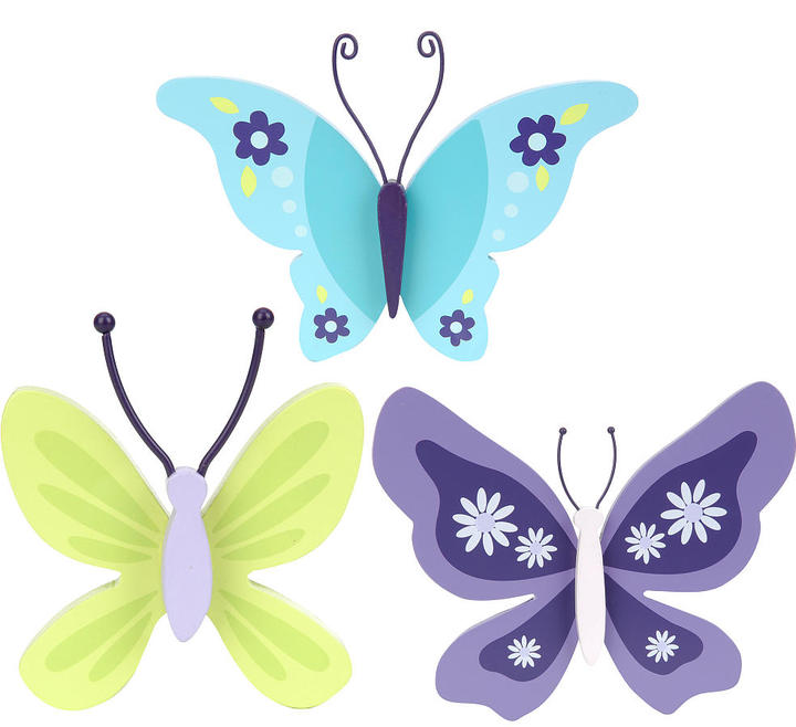 NoJo Crown Craft Beautiful Butterfly 3 Piece Wall Decor