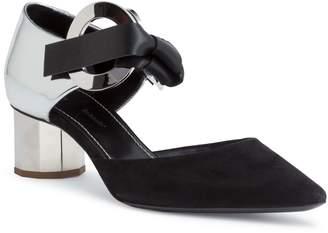 Proenza Schouler Suede and mirror leather 40 grommet pumps