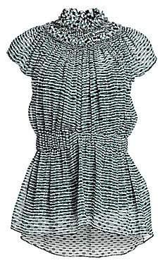 Proenza Schouler Women's Printed Chiffon Silk Cap-Sleeve Peplum Blouse - Size 0