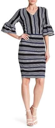 ECI V-Neck 3/4 Sleeve Stripe Dress
