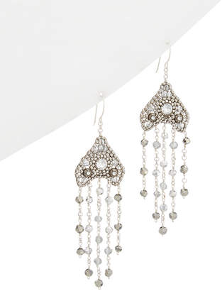 Miguel Ases Silver Crystal Drop Earrings