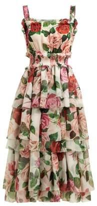 Dolce & Gabbana Rose Print Tiered Silk Chiffon Midi Dress - Womens - White Multi