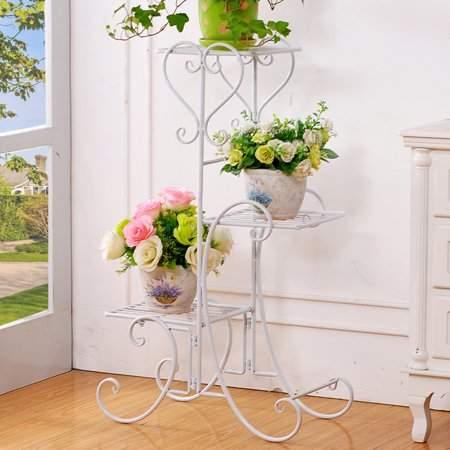 Hanyulore Wrought Iron 4 Layers Flower Pot Plant Stand Holder Rack Display Shelf