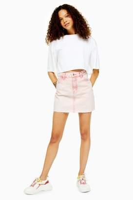 Topshop Womens Petite Pink Acid Wash Denim Skirt - Pink