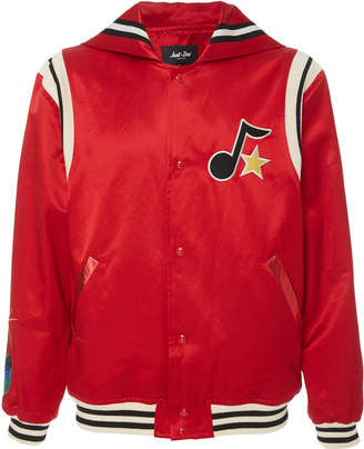JUST DON Appliquéd Cotton-Blend Satin Varsity Jacket