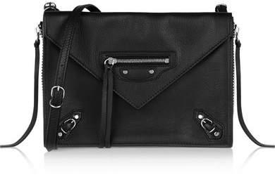 Balenciaga Papier Triple Xs Zip Around Leather Shoulder Bag - Black