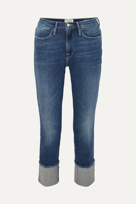 Frame Le High Big Cuff Straight-leg Jeans - Dark denim