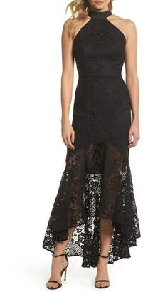 Jarlo Pascal Lace Halter Neck Gown