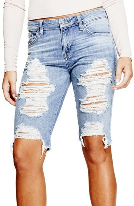 GUESS Solange Distressed Bermuda Shorts $79 thestylecure.com